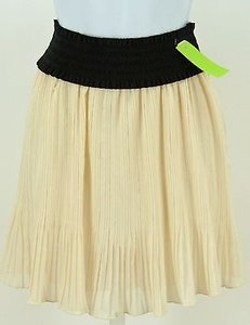 Love Culture Black Cream Flowy Pleated B335 Skirt