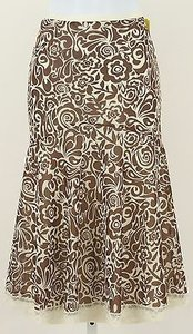 Nicole Miller Cream Lace Elastic Waist B333 Skirt Brown