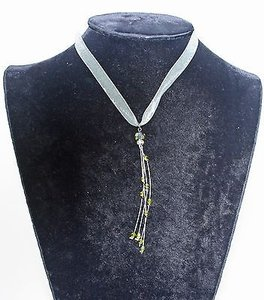 Shooting Star Green Ribbon Crystal Beads Gunmetal Clasp Necklace Bjb1