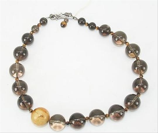 Other Smokey Graduated Marble Bead With Amber Colored Beads Necklace Bj07