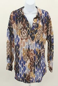 Bisou Bisou Blue Brown Gold Top Multi-Color