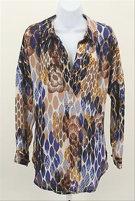Bisou Bisou Blue Brown Gold Multi Ls Half Button Down B251 Top Multi-Color