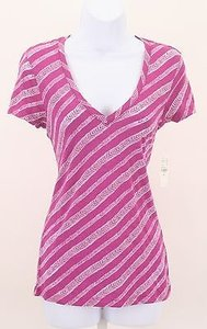 Nollie Glam V Neck Ss Chevron Stripes Tee B251 T Shirt Pink