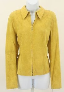 Worth Worth Sunshine Yellow Laser Cut Suede Ls Zip Front Blazer B176