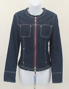 Worth Worth Blue Denim White Watermelon Fringe Zip Front Blazer B176