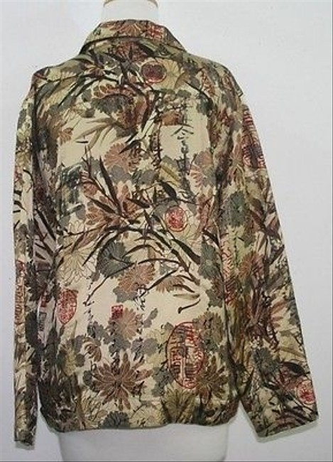 Chico's 1 Gold Copper Red Black Satin B67 Multi-Color Jacket