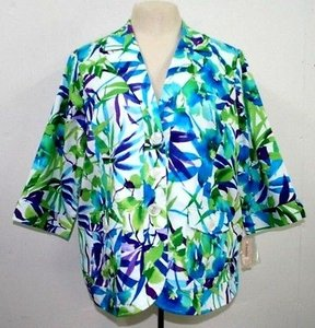 dressbarn Turquoise Lime Purple White Floral Jacket