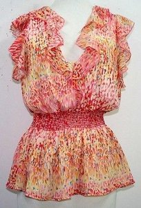 Georgiou Studio Studio Pink Yellow Red Blue Print B75 Top Multi-Color