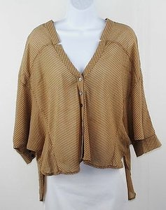 Love Riche Camel Charcoal Stripe 34 Sleeve Hi Lo Button B206 Top