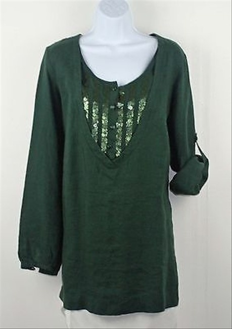 Other Persona 139eu Linen Sequin Bib Long Sleeve Tab B206 Top Green