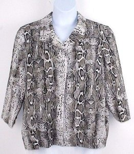 Chico's White Brown Animal Print Linen Blend Lined B209 Jacket