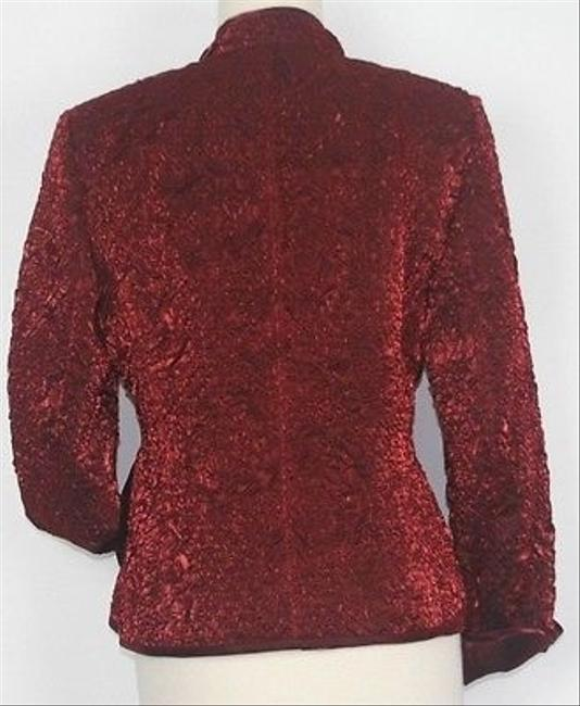 Victor Costa Victor Costa Burgundy Textured Mandarin Collar Zip Front Dress Blazer B17