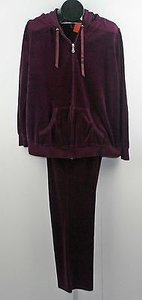 Motherhood Maternity Motherhood Maternity 32 Inseam Burgundy Velour Hooded Sport Set B212