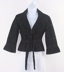 Free People People Black Brocade Ruffle Collar Bolero Blazer B220