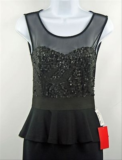 Foreign Exchange Black Sheer Neckline Sequin Peplum B175 Dress