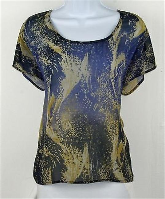 Ecote Navy Gray Yellow Cold Blade Flutter Sleeve B206 Top Multi-Color