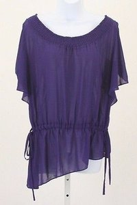 Nicole Miller Nicole Sheer Short Cold Sleeve With Stretch Neck B269 Top Purple