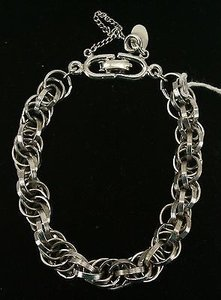 Roget Silvertone Chainlink Bracelet With Safety Chain Bj08