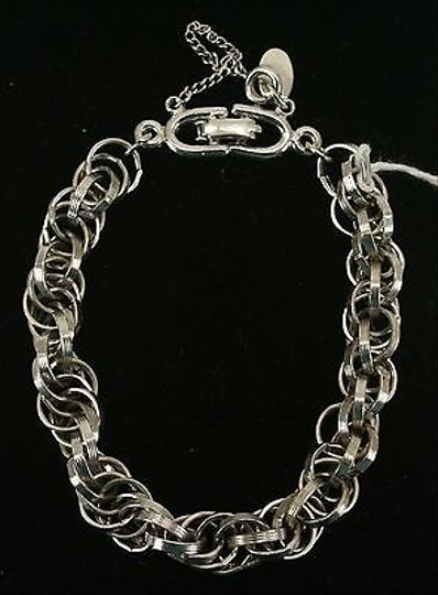 Other Roget Silvertone Chainlink Bracelet With Safety Chain Bj08