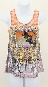 Other Bella Orange Black Multi Lace Sequins Graphic B251 Top Multi-Color