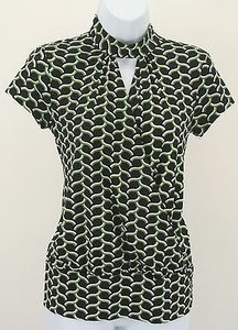 INC International Concepts Black White Green Ss Top Multi-Color