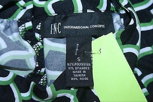 INC International Concepts Black White Green Ss Keyhole Front Back Wrap B341 Top Multi-Color