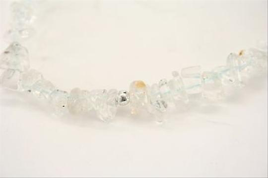 Other Quartz Clear Beaded Stone Silvertone Necklace Bj03
