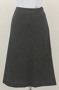 Worth Navy White Checked Wool Blend A Line B292 Skirt Multi-Color
