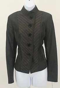 Worth Worth Charcoal Red White Pin Stripe Button Blazer B176