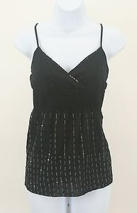 Charlotte Russe Gray Embroidery Sequins Faux Wrap B121 Top Black