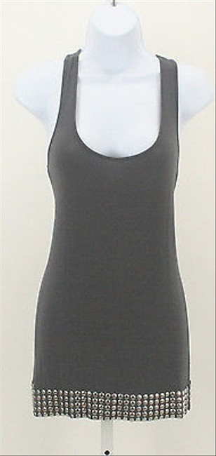 Rainforest Rain Silver Round Studded Hem Racer Back B121 T Shirt Gray