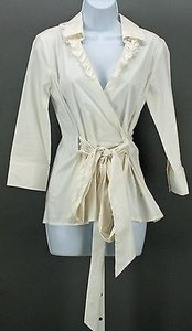 Banana Republic Ruffle 34 Sleeve With Cross Tie B287 Top White
