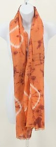 Chico's Chicos Coral Burgundy White Tie Dye Rectangular Scarf B340