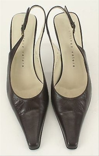 Martinez Valero Leather High Heel Pointy Toe Slingbacks B345 Brown Pumps