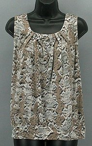 Ann Taylor LOFT Taupe Black Gray Sleeveless B284 Top Brown
