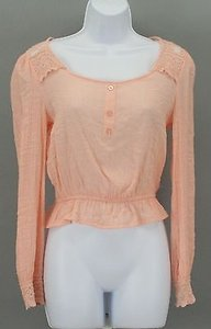 Only Mine Peach Lace Long Sleeve Top Pink