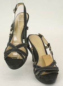 Lauren Ralph Lauren 7m Black White Stitch Chunky Heel Strappy B66 Multi-Color Sandals