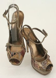 Paprika Taupe Brown Animal Print Strappy Platform Stiletto B345 Multi-Color Pumps