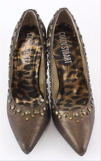 Colin Stuart Metallic Leather Gold Rhinestone Brass Heels B97 Bronze Pumps