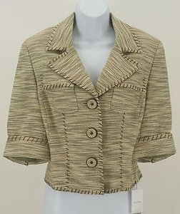 Worth Worth Pignoli Whip Stitched Cuffed 34 Sleeve Cottn Blnd Blazer B176