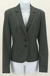 Calvin Klein Calvin Klein Gray Light Blue Pin Stripe Button Blazer B349