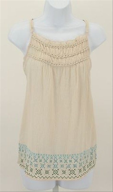 Eyeshadow Cream Blue Green Embroidered Ruffle Neck B176 Top Multi-Color