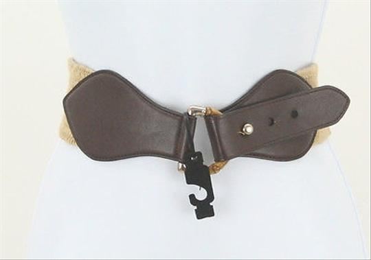 The Limited The Limited Brown Leather Tan Elastic Inset Stretchy Belt B179
