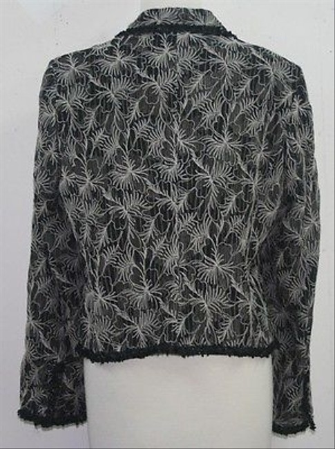 Jones New York 12p Black Cream Embroidered Lace Overlay B80 Gray Jacket