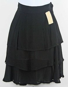 Other Cheap And Chic Moschino Chiffon Flutter Tiered B185 Skirt Black