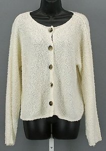 J. Jill Cream Knit Button Down Sweater