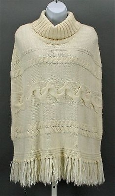 Chico's Sx Sm Gold Frayed Turtleneck Poncho B287 Sweater