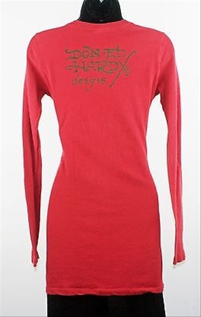 Ed Hardy Muted True Til Death Long Sleeve Tattoo Tee B193 T Shirt Red