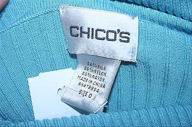 Chico's 0 Light Long Sleeve Turtleneck B288 Top Blue