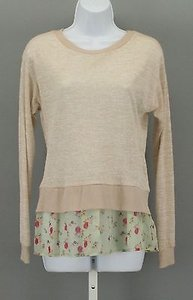 Xhilaration Tan Lime Pink Floral Long Sleeve B290 Top Beige